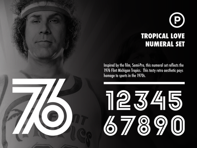 Tropical Love Numeral Set athletic numbers athletic retro numbers vintage numbers sports numbers vintage font retro font basketball baseball design branding sports typography