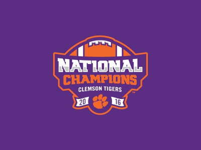 Clemson 2016 National Champions Logo typography football tigers clemson champions national champions sports branding logo