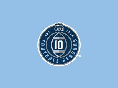 ODU 10 Football Seasons Logo