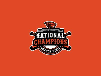 2018 NCAA Baseball National Champions typography branding logo champions national champions beavers baseball oregon state