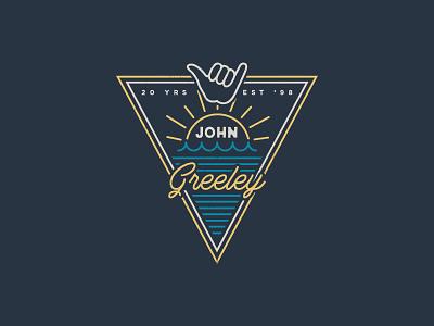 20 Years Logo typography water sun surfing branding logo