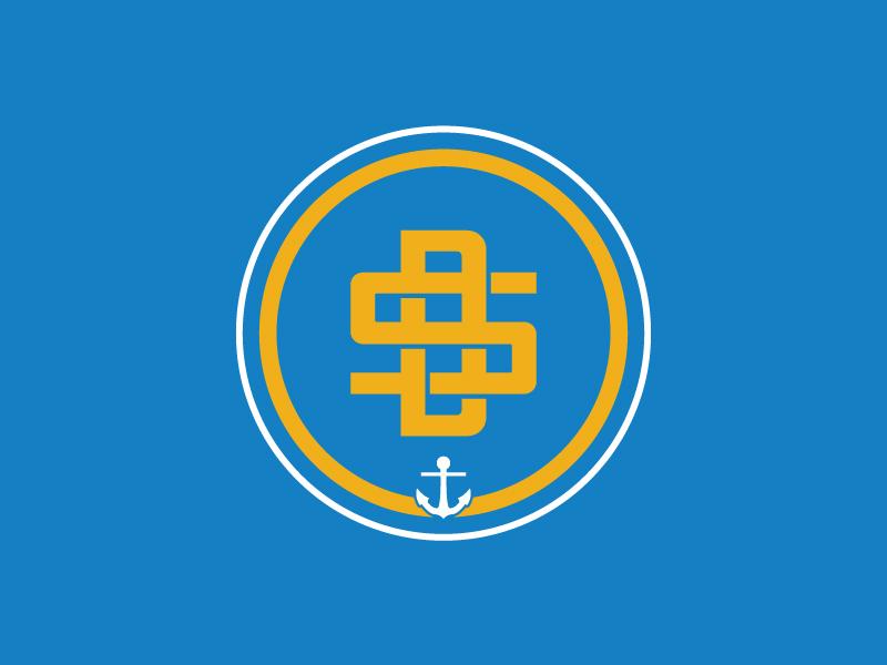 San Diego badge logo anchor monogram sd san diego badgelogo vector design badge sports branding typography logo
