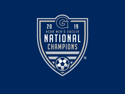 2019 NCAA Men's Soccer National Champions college shield design champions national champions sports typography branding logo soccer badge badge georgetown soccer