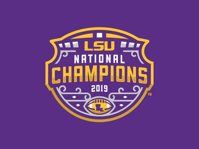 Official Logo for the 2019 National Champions vector badge design champions national champions sports branding typography logo football lsu
