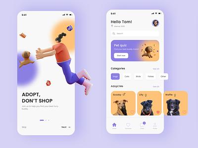 """Adopt, don't shop"" App🐶 design product design app design app figmadesign figma pet dog uxdesign uidesign uiux ux ui"