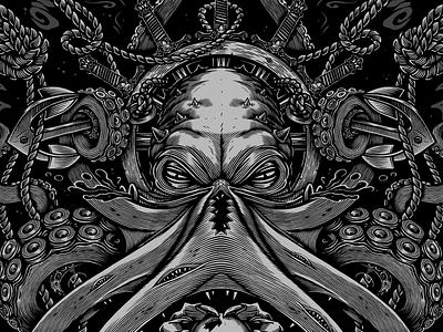 Prints for HH Wear (hh-wear.ru) octopus t-shirt skull print