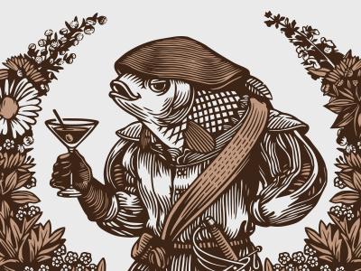 San Bernabé  logo engraving vermouth wine fish