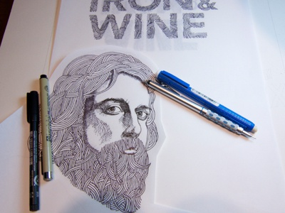 Iron And Wine Poster Concept illustration typography concert poster ink