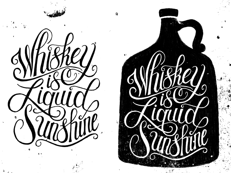 Whiskey Is Liquid Sunshine illustration design whiskey lettering typography jug booze texture pen and ink script