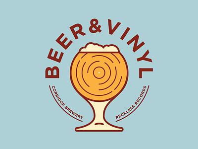 Beer And Vinyl Logo branding vector logo mark records vinyl beer