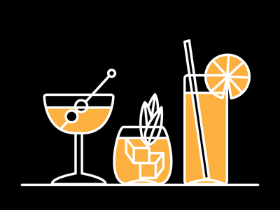 Whiskey Cocktails lets drink illustration icons cocktails whiskey
