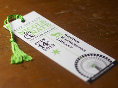 Save The Date Bookmark wedding save the date personal chicago green typography tassel bookmark
