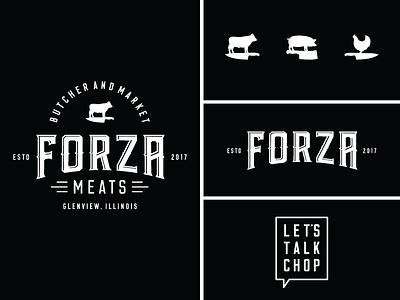 Forza Meats Lockup chicken pig knife cow butcher illustration type lockup logo