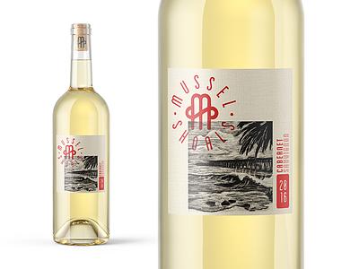 Mussel Shoals branding and illustration ipad pro scratchboard wine packaging illustration type badge mark logo