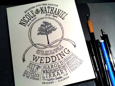 Wedding Invitation typography wedding illustration tree ribbon invitation ink pencil lettering drawn hand scratchboard