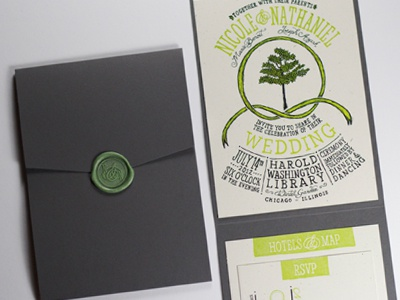 Final Invitation wedding invitation typography french paper tree wax seal lettering scratchboard hand