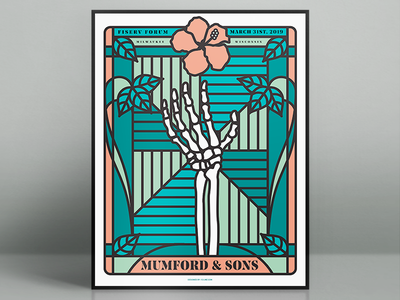 Mumford And Sons Fiserv Forum Poster illustrator concert poster fiserv forum milwaukee design poster skeleton bones vector illustration gig poster
