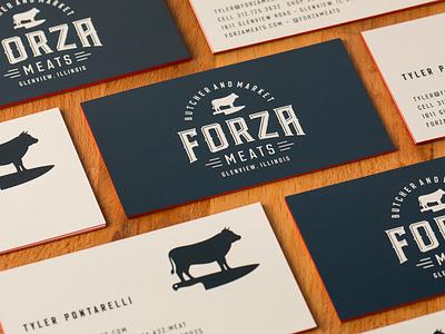 Forza Meats Business Cards vector mark illustrator chicago design logo illustration
