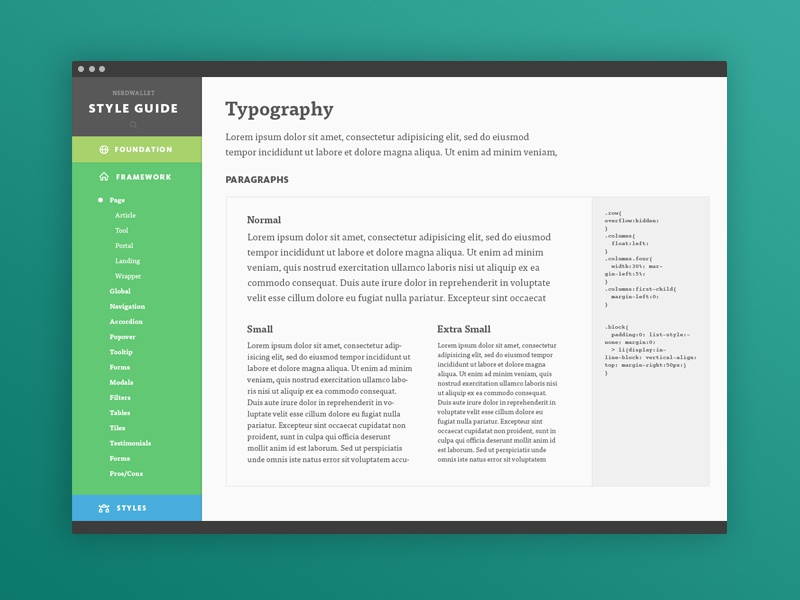 Nw Style Guide styleguide ui responsive typography finance grid style guide