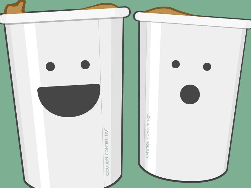 Coffee Illy coffee illustration green happy surprised cafinated