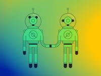 Holding hands spacesuit space illustrator illustration