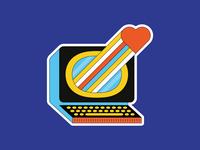 Computer Love sticker illustration illustrator