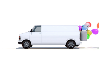 Holiday Van with Colorful Balloons