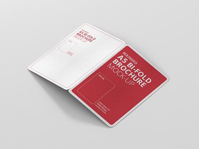 Bi-Fold Brochure Mock-Up Rounded round corner editorial print typo design brochure mock up mockup
