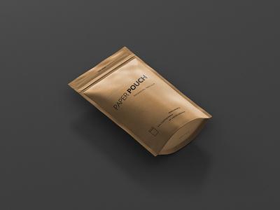 Paper Pouch Bag Mockup Preview artwork coffe design pouch kraft bag foil mock up mockup