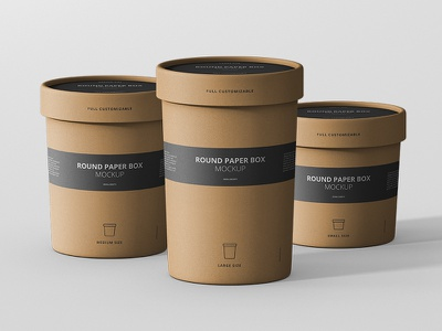 Round Paper Box Mockup Collection typo typography design stationary branding tube paper packaging mock up mockup