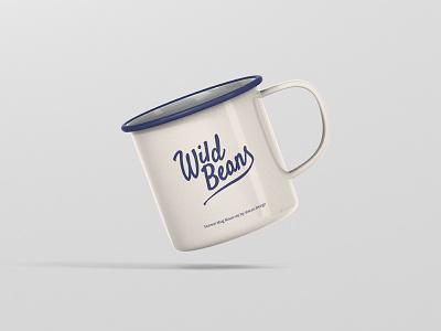 Wild Beans Enamel Mug square psd design coffee drink mug mockup mug mock up mockup lettering adventure logo