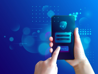 Secure user authentication with mobile phone. banner bank background authorization application account access verification safety phone payment password data concept authentication login illustration design vector
