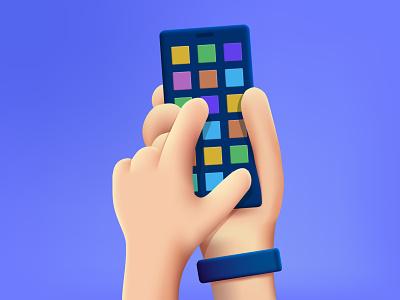 Hand holding smartphone. touch smartphone hand design illustration cartoon vector