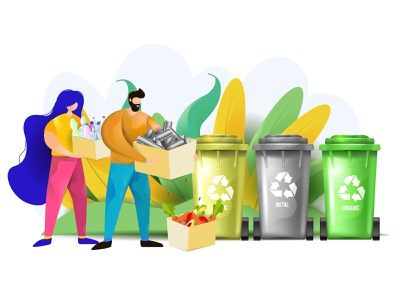 Waste Sorting segregation recycling recycle garbage eco disposable clean character can bin cartoon landing people woman man flat sorting waste vector illustration