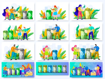 Waste Sorting. Set of illustrations ecology design activist waste template sorted separated segregation recycling recycle garbage eco disposable clean character can bin flat cartoon landing