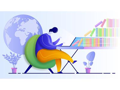Online education education course character cartoon vector illustration flat design