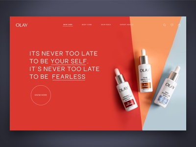 Concept Design For Olay webui webinspiration designinspiration websitedesign uxdesign uidesign skinproduct skincare header layout minimaldesign cleandesign herosection website web ui