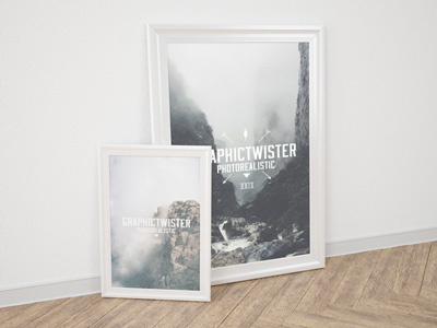 Small and Big Poster Frame psd template mockup frame poster