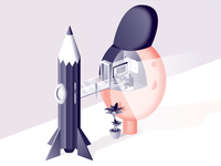 Headspace 3d play rocket fun isometric iso gradient office pencil vector illustration