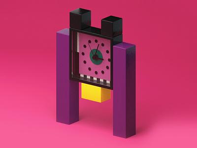 Neos, Table clock retro color design 3d clock texture modeling cinema c4d