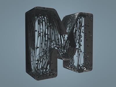 M render physics tracer cloner texture letter 36 days of type lettering 36 days of type model design cinema4d 3d