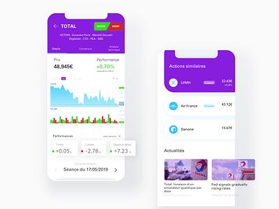 Stocks statistics app trading card trading banking app banking wallet chart fintech statistics stocks mobile cards app design colorful design clean finance app finance app