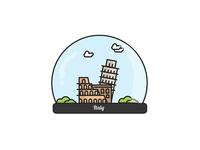 Italy Globe Crystal Ball
