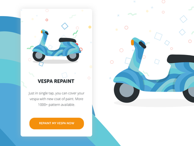 Vespa Repaint Onboarding Screen repaint paint blue flat illustrations onboarding illustrations vespa