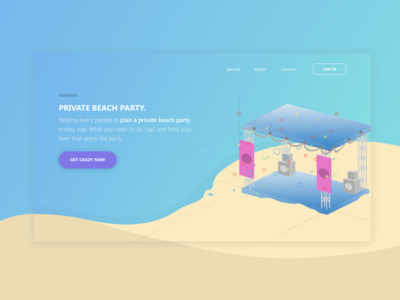 Private Beach Party Header Landing Page