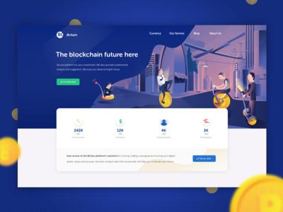 Blockchain Landing Page Dark Version landing page illustration etherium bitcoin cryptocurrency