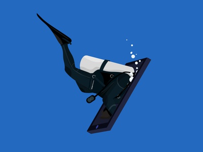 Diving Into Mobile Phone Illustration