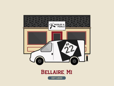 Bellaire Michigan m22 branding illustration