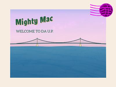 Mighty Mac postcard debut michigan illistration line art bridge postcard