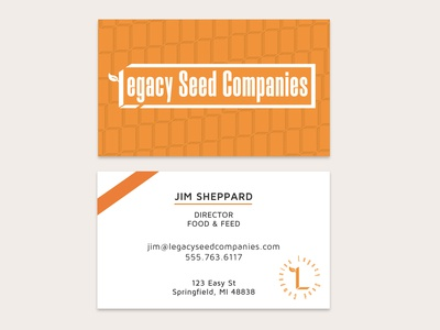 Business card for seed company